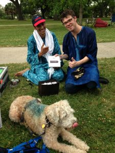 Yes, yes the dog is blue and hanging out with Bombino...
